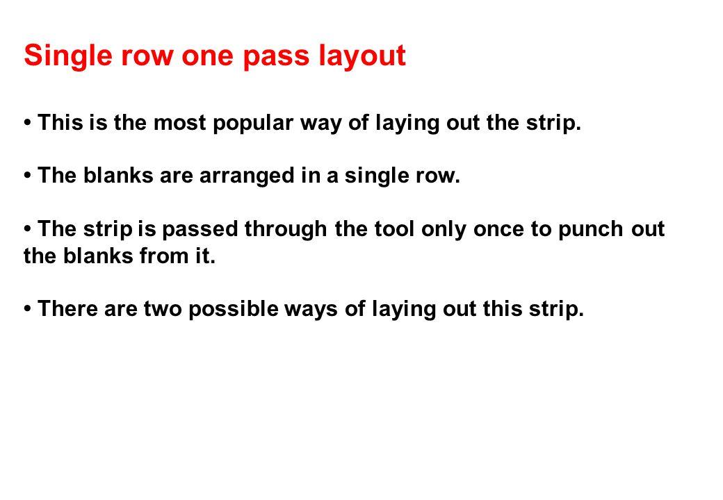 Single row one pass layout
