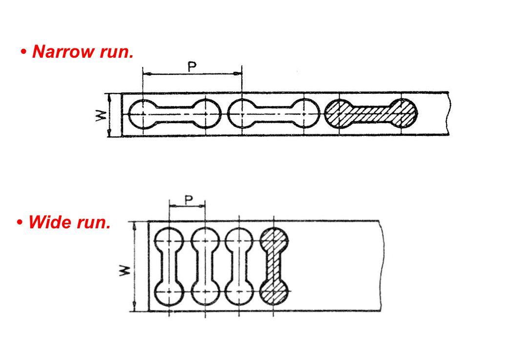 • Narrow run. • Wide run.