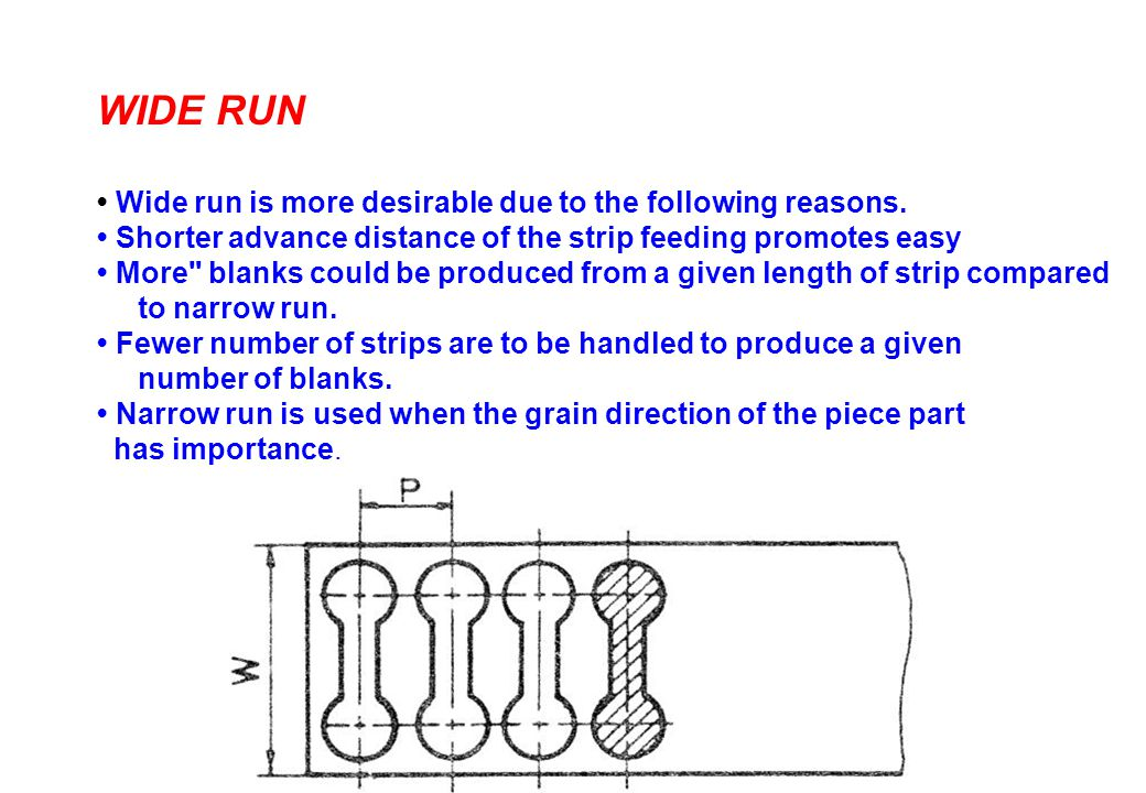 WIDE RUN • Wide run is more desirable due to the following reasons.