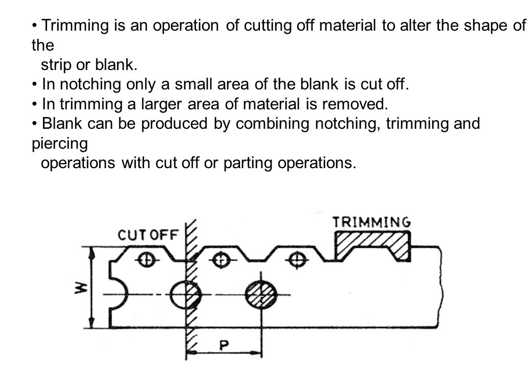 • Trimming is an operation of cutting off material to alter the shape of the