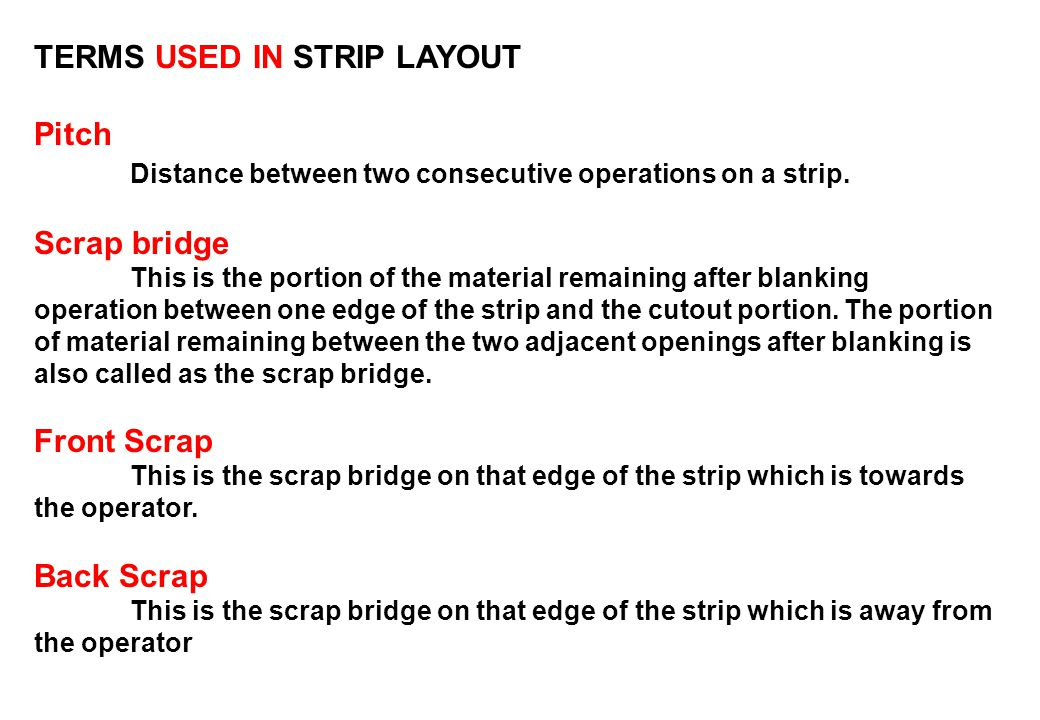 TERMS USED IN STRIP LAYOUT Pitch