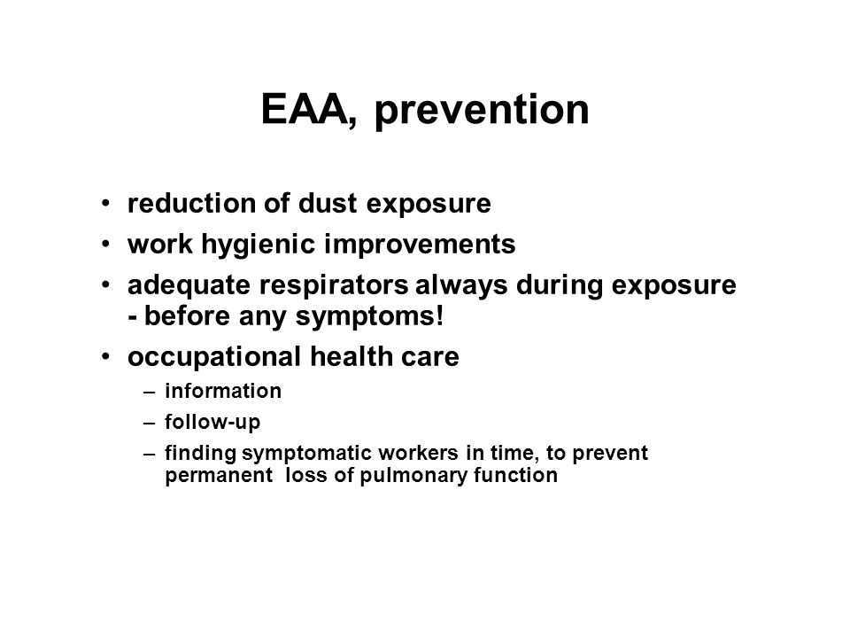 EAA, prevention reduction of dust exposure work hygienic improvements