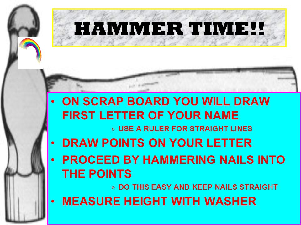 HAMMER TIME!! ON SCRAP BOARD YOU WILL DRAW FIRST LETTER OF YOUR NAME