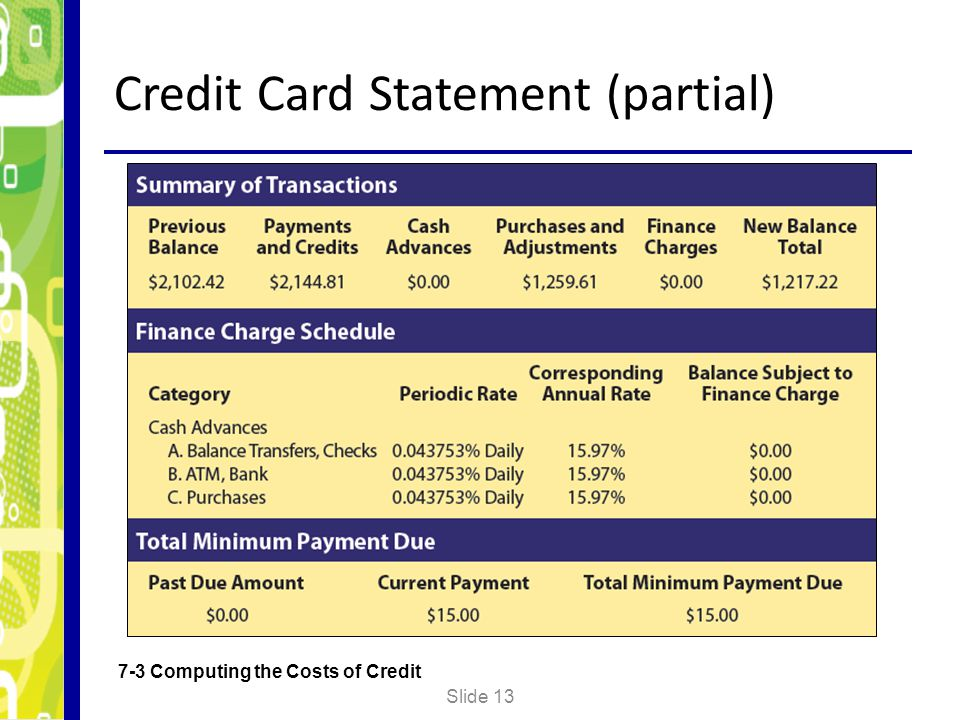 Credit Card Statement (partial)
