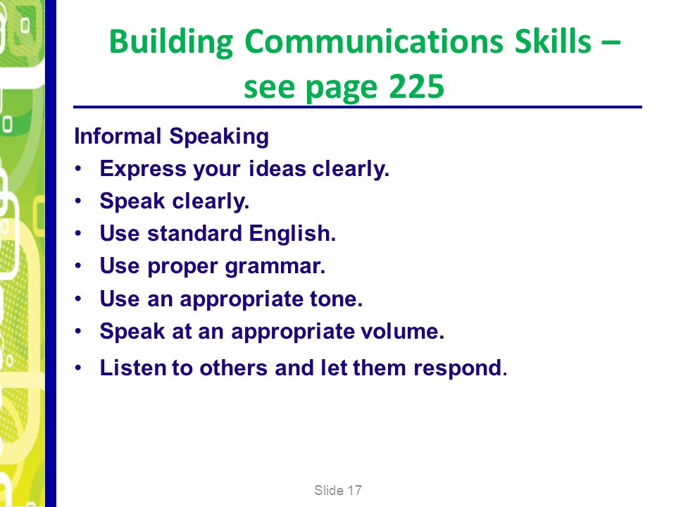 Building Communications Skills – see page 225