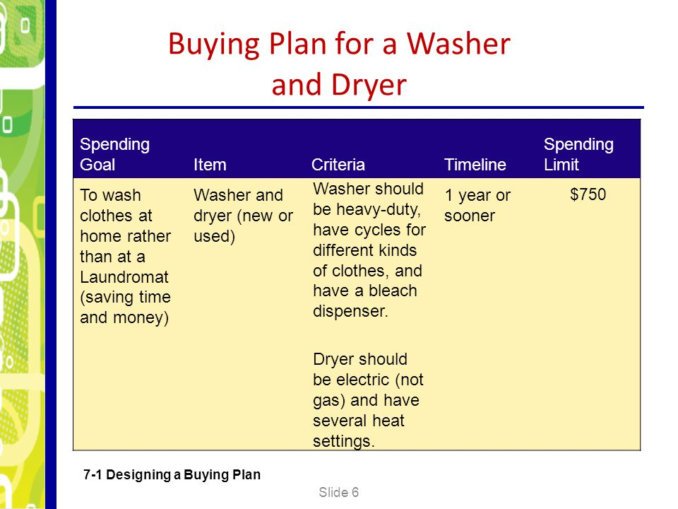 Buying Plan for a Washer and Dryer