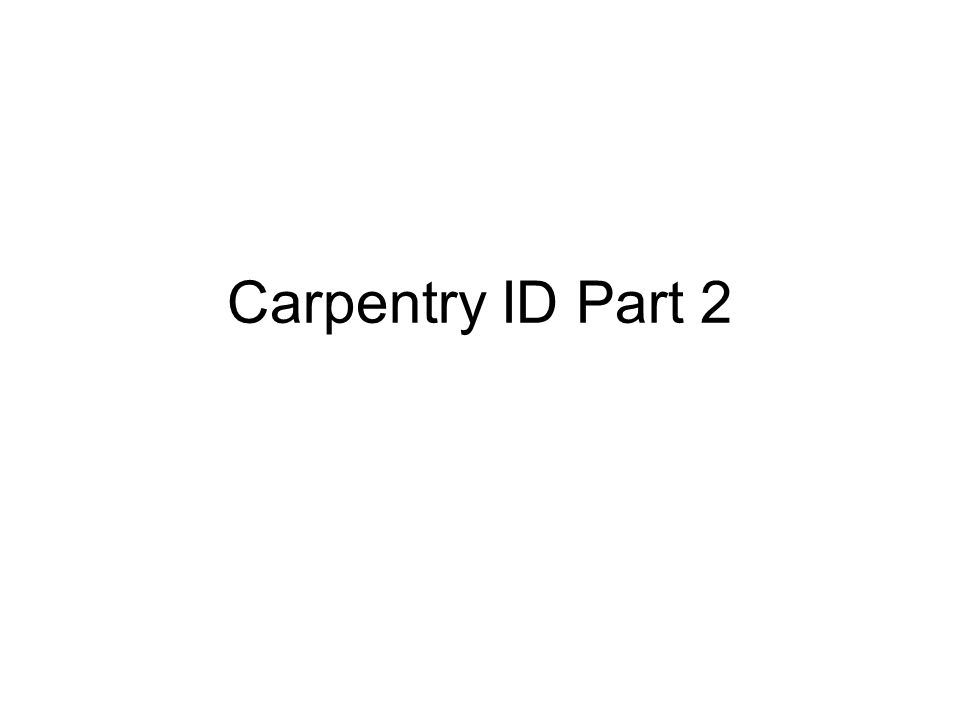 Carpentry ID Part 2