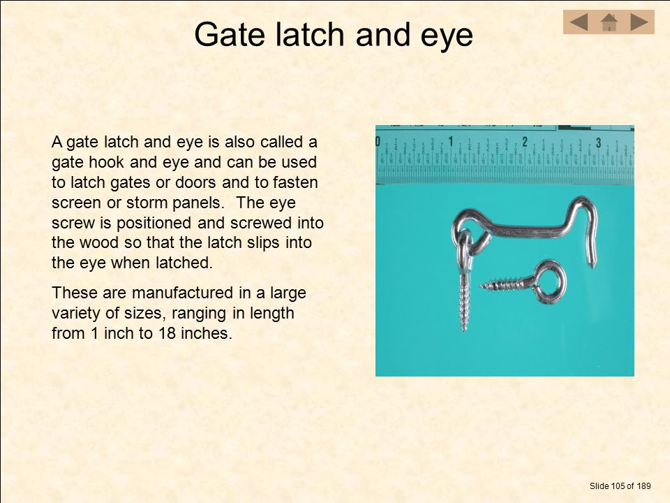 Gate latch and eye