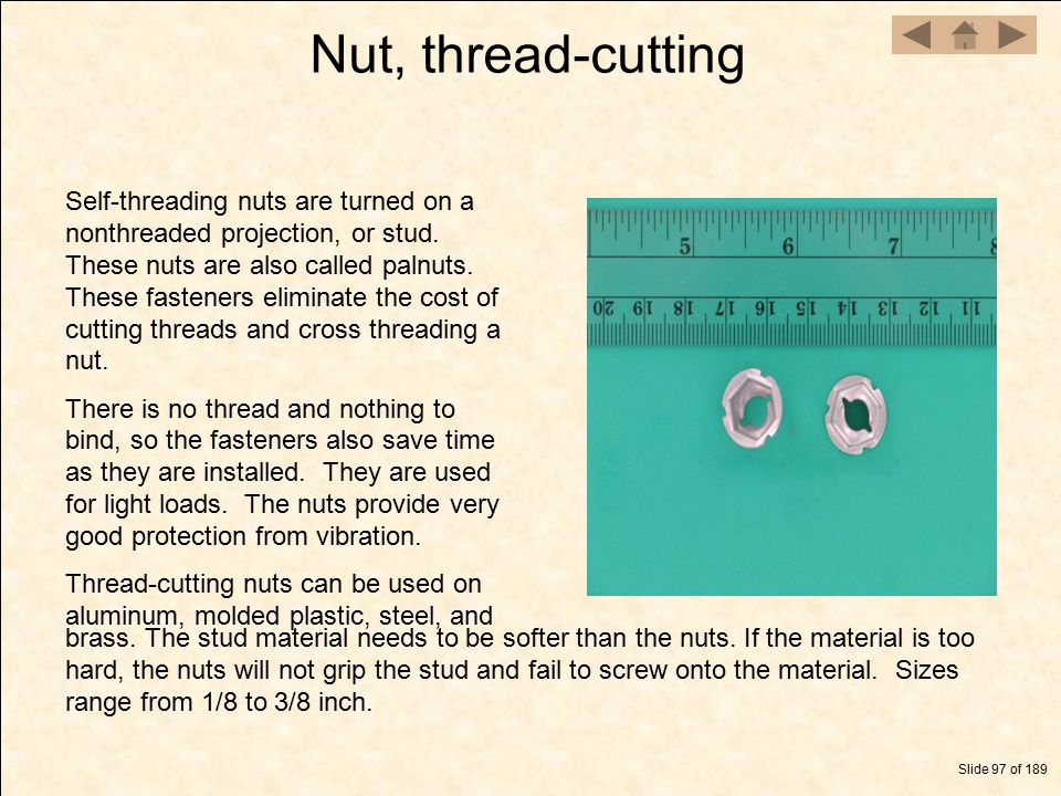 Nut, thread-cutting