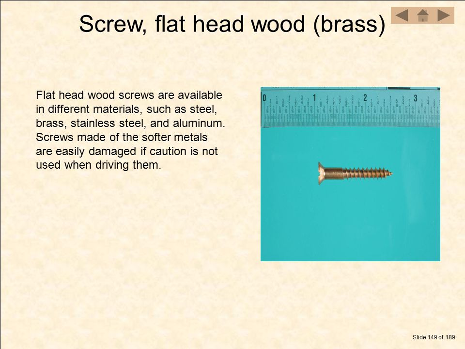 Screw, flat head wood (brass)