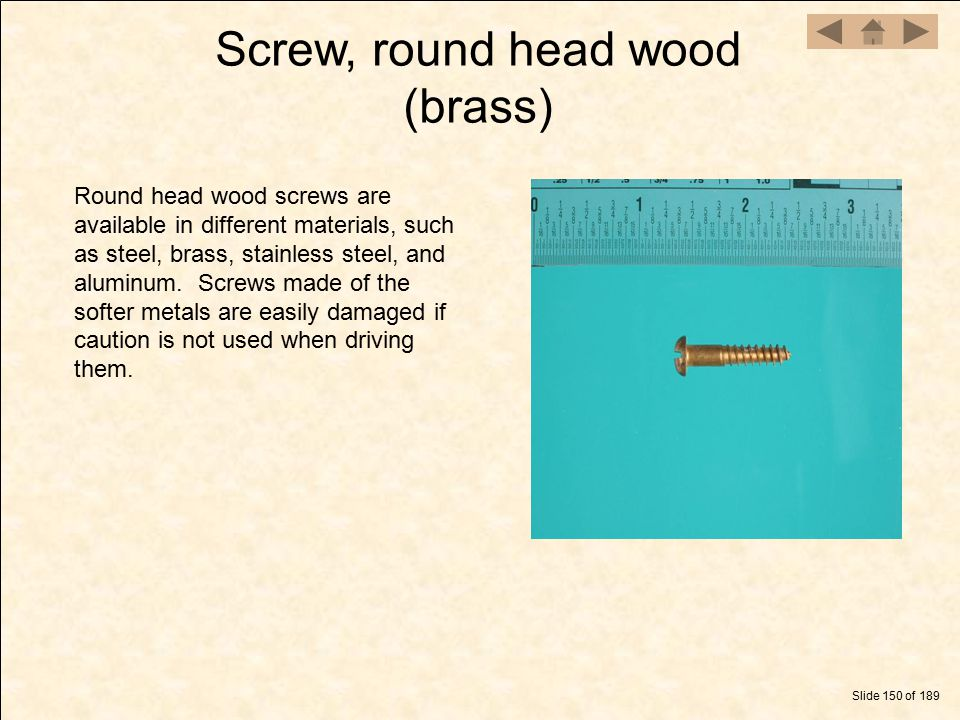 Screw, round head wood (brass)