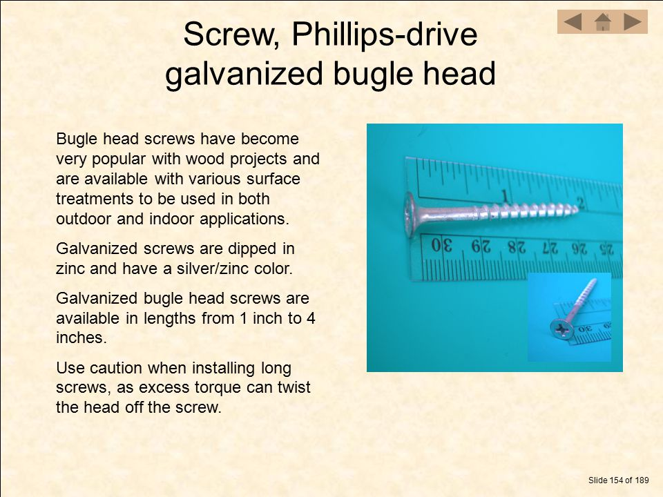 Screw, Phillips-drive galvanized bugle head