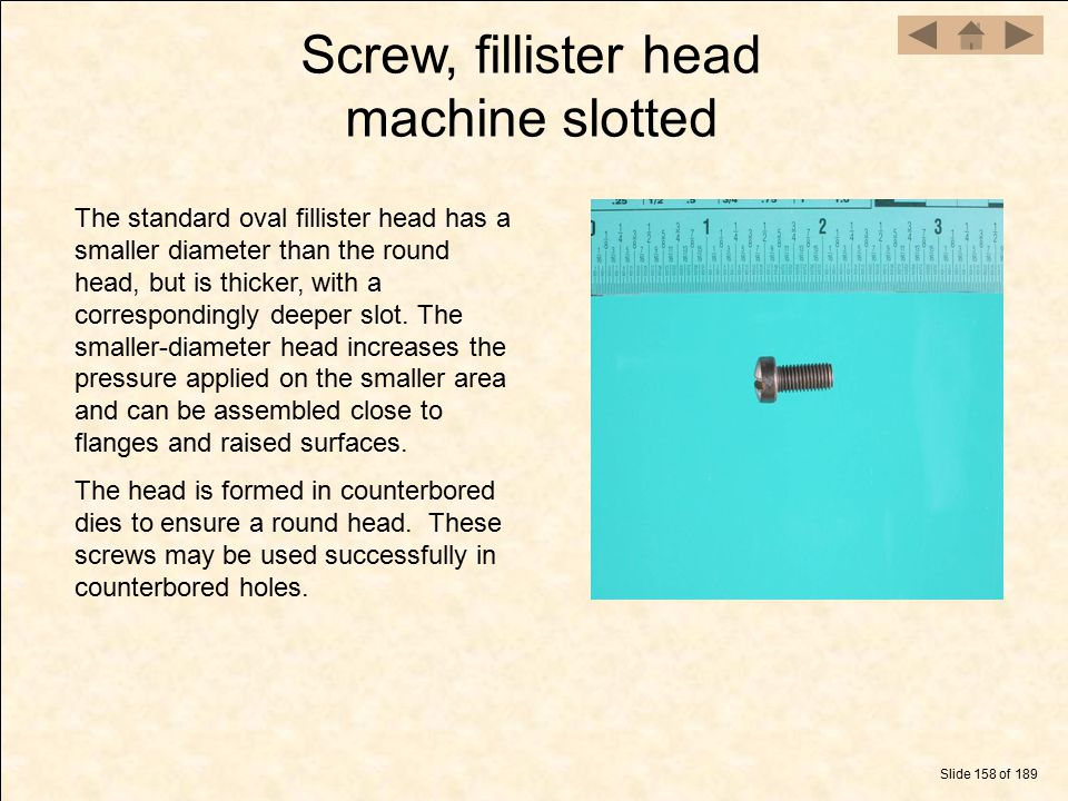 Screw, fillister head machine slotted