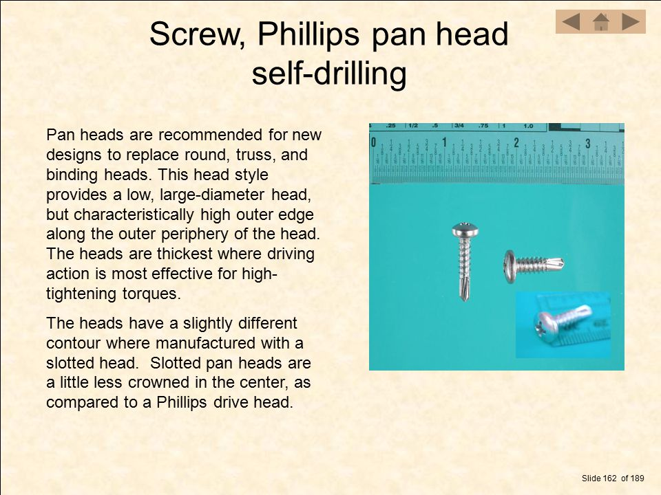 Screw, Phillips pan head self-drilling