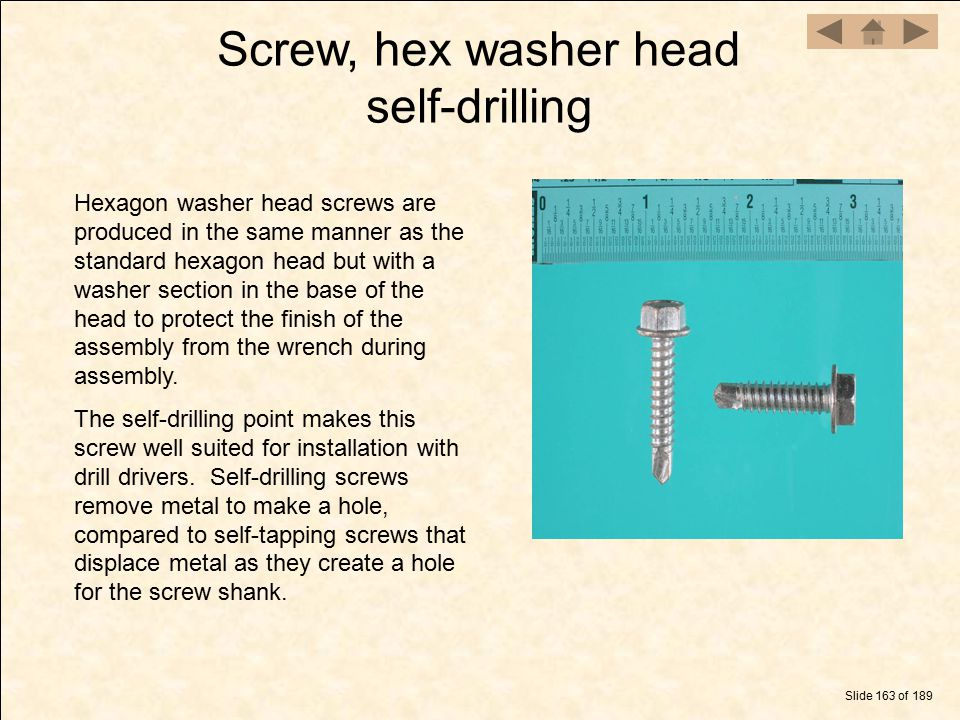 Screw, hex washer head self-drilling