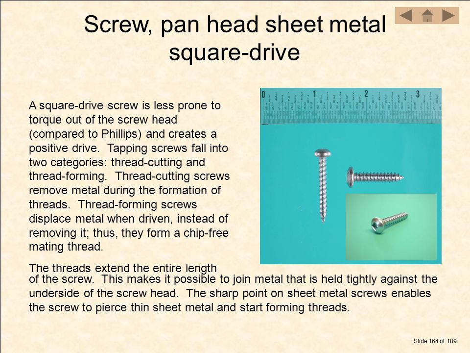 Screw, pan head sheet metal square-drive