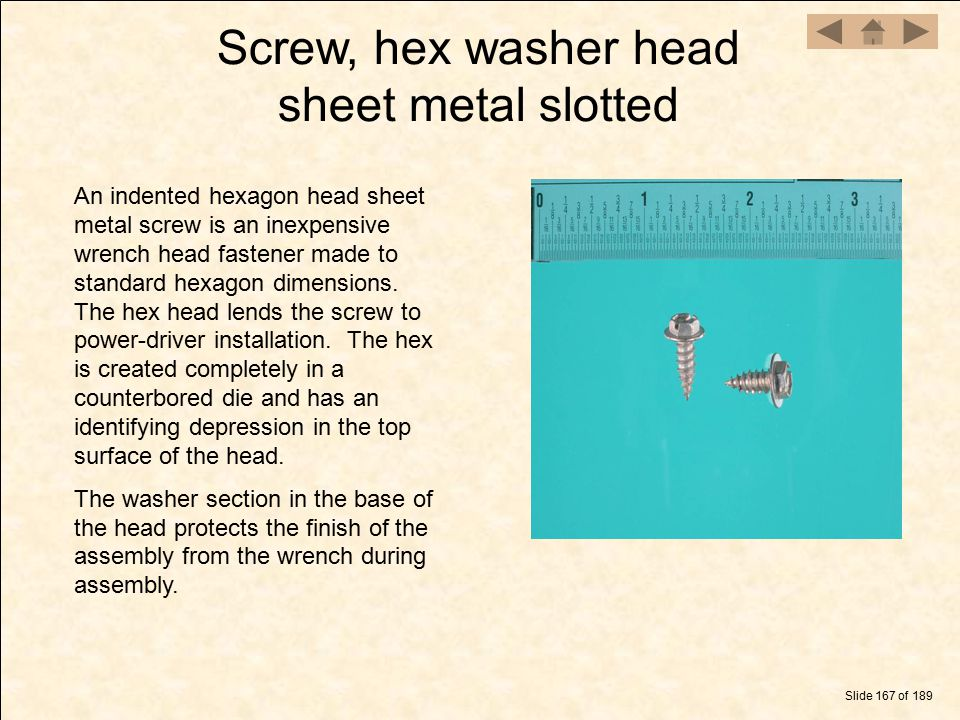 Screw, hex washer head sheet metal slotted