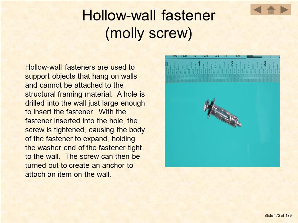 Hollow-wall fastener (molly screw)