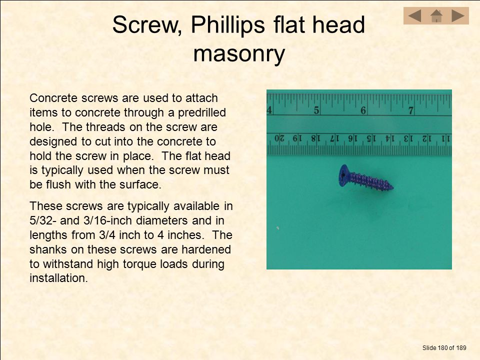 Screw, Phillips flat head masonry