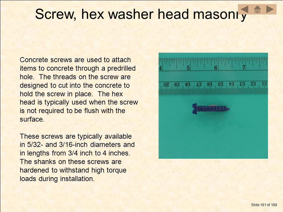 Screw, hex washer head masonry