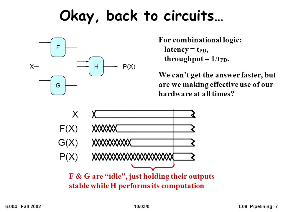 Okay, back to circuits… For combinational logic: latency = tPD,