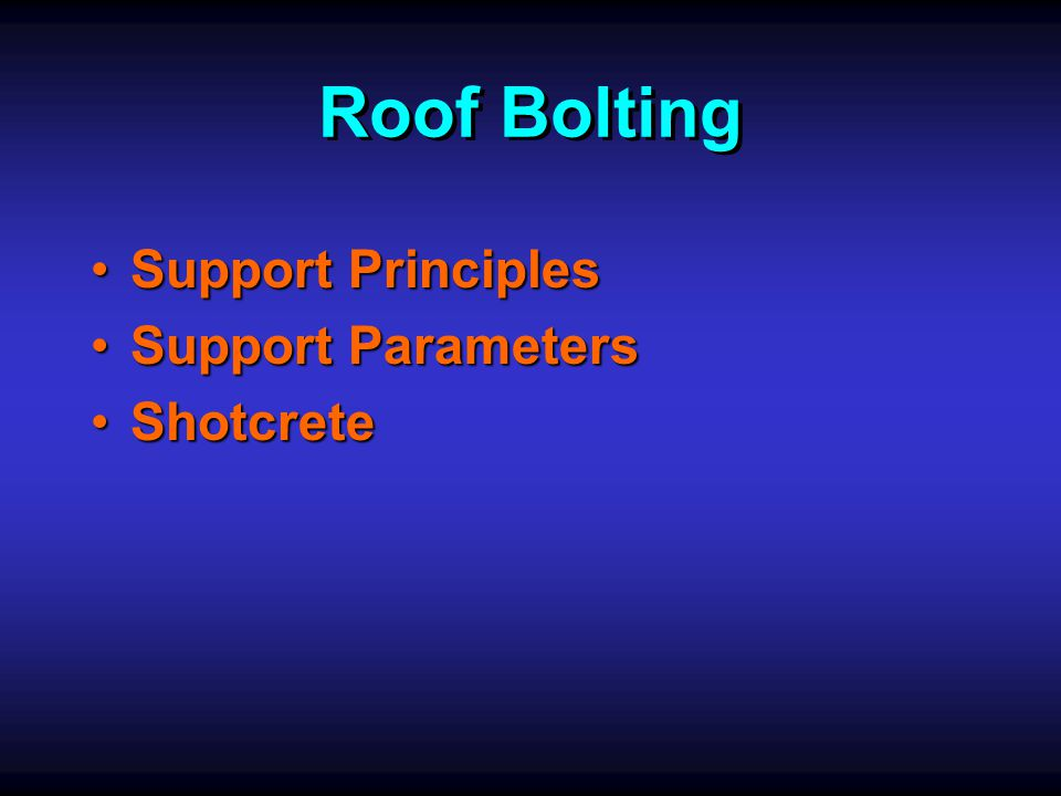 Roof Bolting Roof Bolting