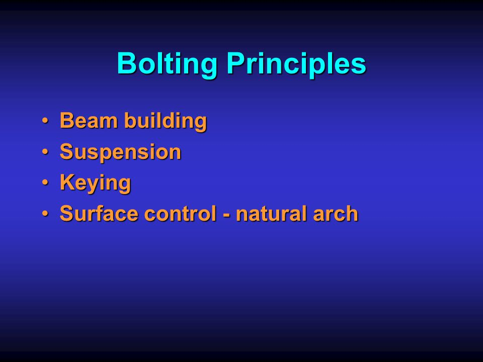 Bolting Principles Beam building Suspension Keying