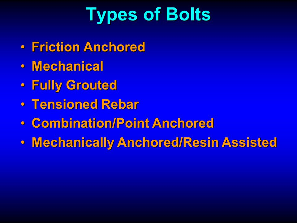 Types of Bolts Friction Anchored Mechanical Fully Grouted