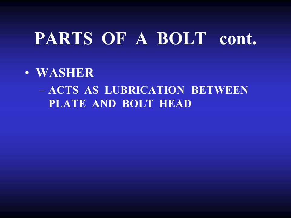 PARTS OF A BOLT cont. WASHER