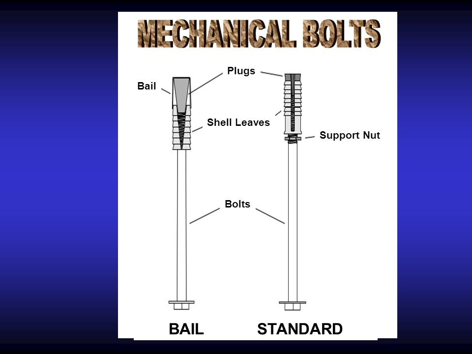 MECHANICAL BOLTS BAIL STANDARD Plugs Bail Shell Leaves Support Nut