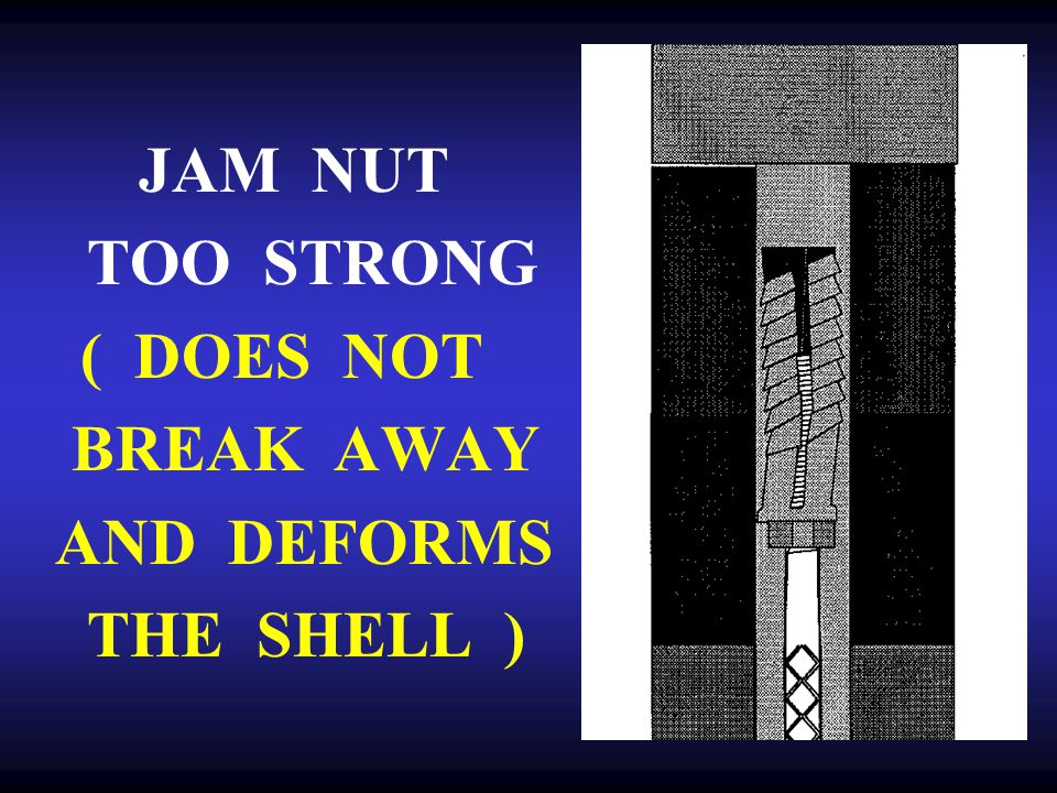 JAM NUT TOO STRONG ( DOES NOT BREAK AWAY AND DEFORMS THE SHELL )