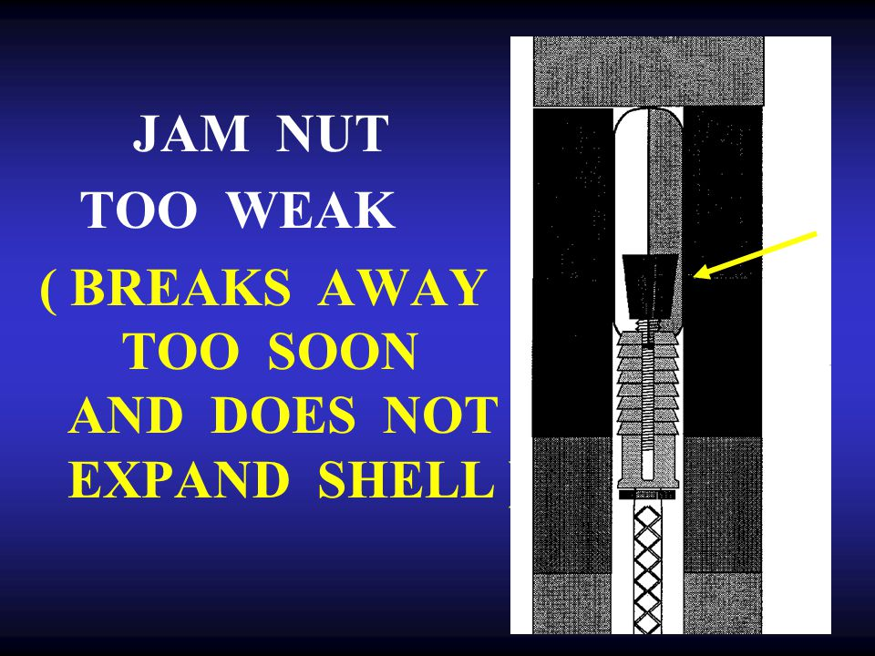 JAM NUT TOO WEAK ( BREAKS AWAY TOO SOON AND DOES NOT EXPAND SHELL )