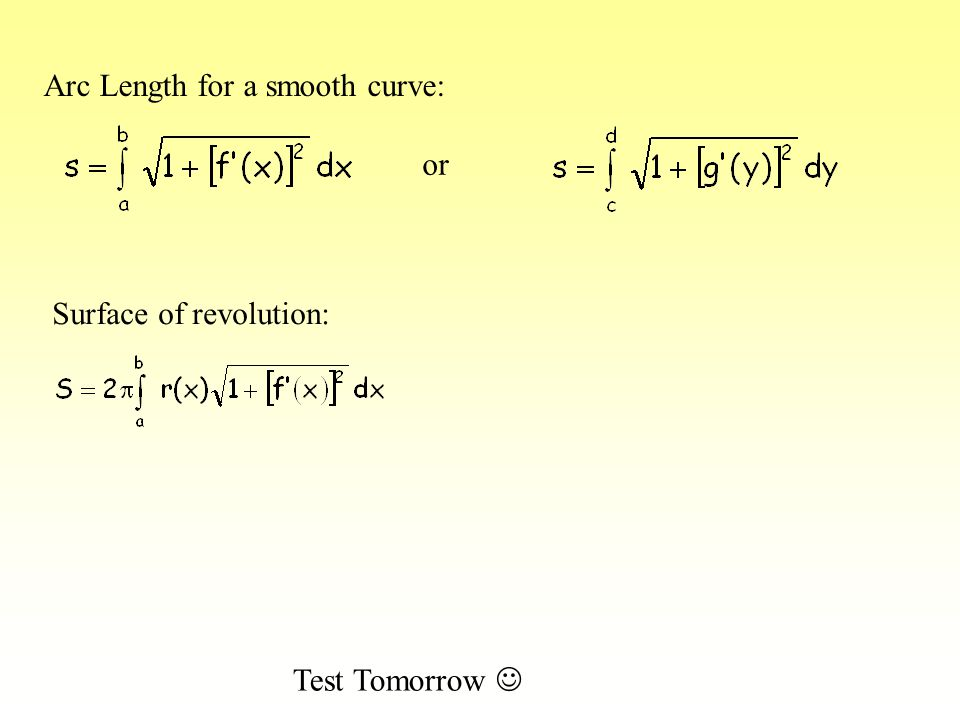 Arc Length for a smooth curve: