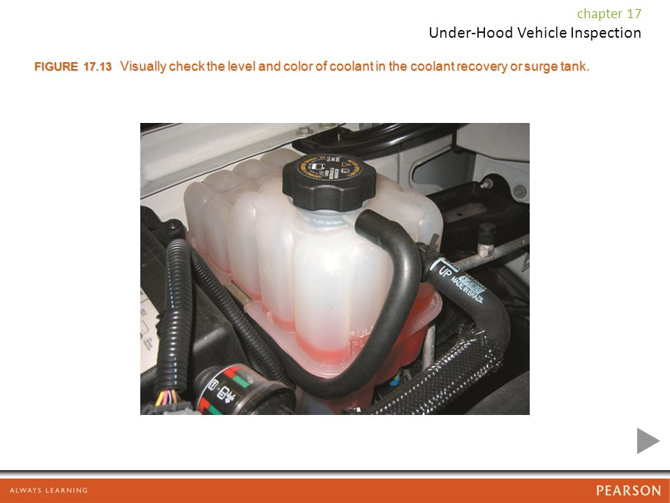 FIGURE 17.13 Visually check the level and color of coolant in the coolant recovery or surge tank.