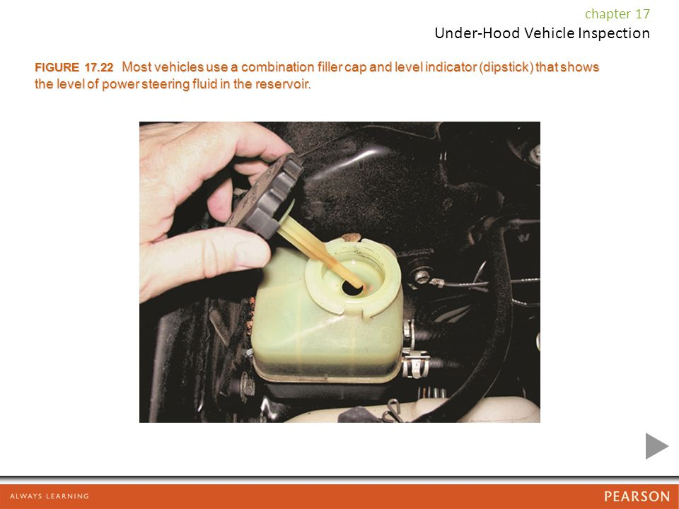 FIGURE 17.22 Most vehicles use a combination filler cap and level indicator (dipstick) that shows the level of power steering fluid in the reservoir.