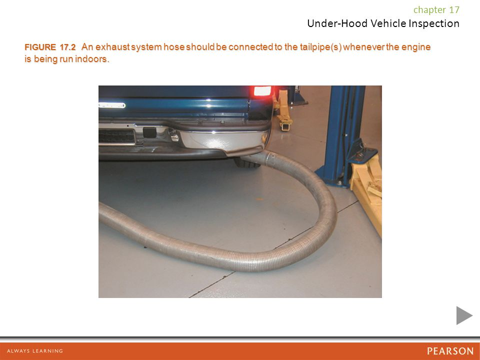 FIGURE 17.2 An exhaust system hose should be connected to the tailpipe(s) whenever the engine is being run indoors.