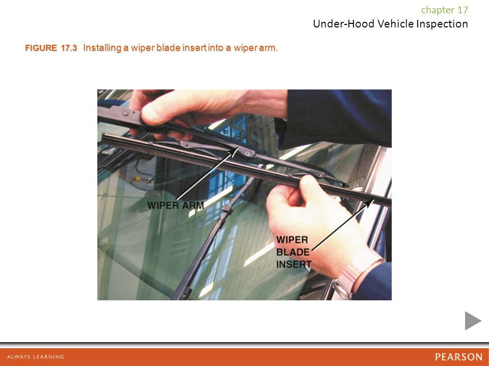FIGURE 17.3 Installing a wiper blade insert into a wiper arm.