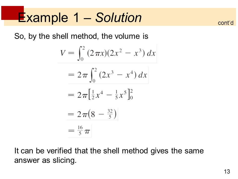 Example 1 – Solution So, by the shell method, the volume is