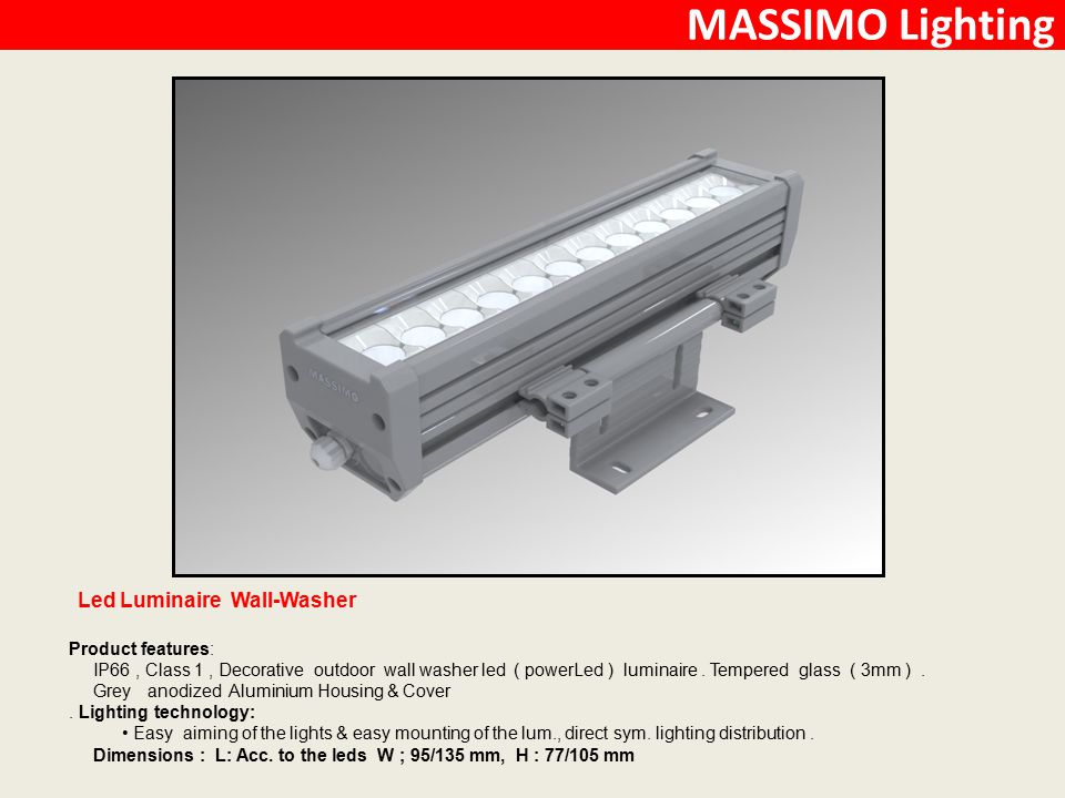 MASSIMO Lighting Led Luminaire Wall-Washer Product features: