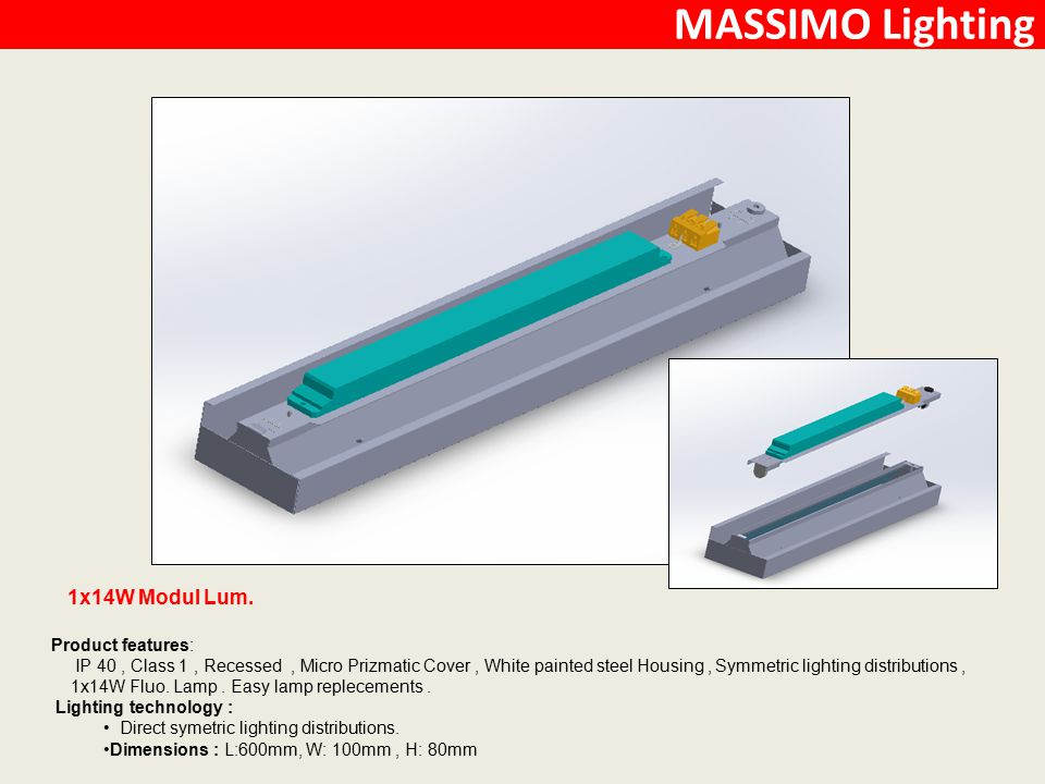 MASSIMO Lighting 1x14W Modul Lum. Product features: