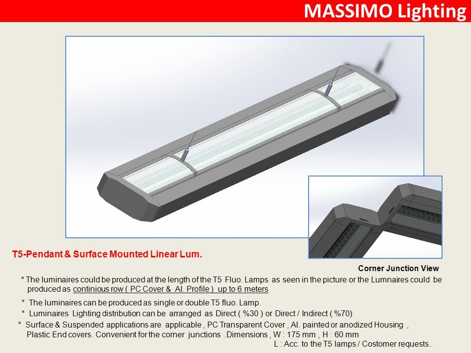 MASSIMO Lighting T5-Pendant & Surface Mounted Linear Lum.