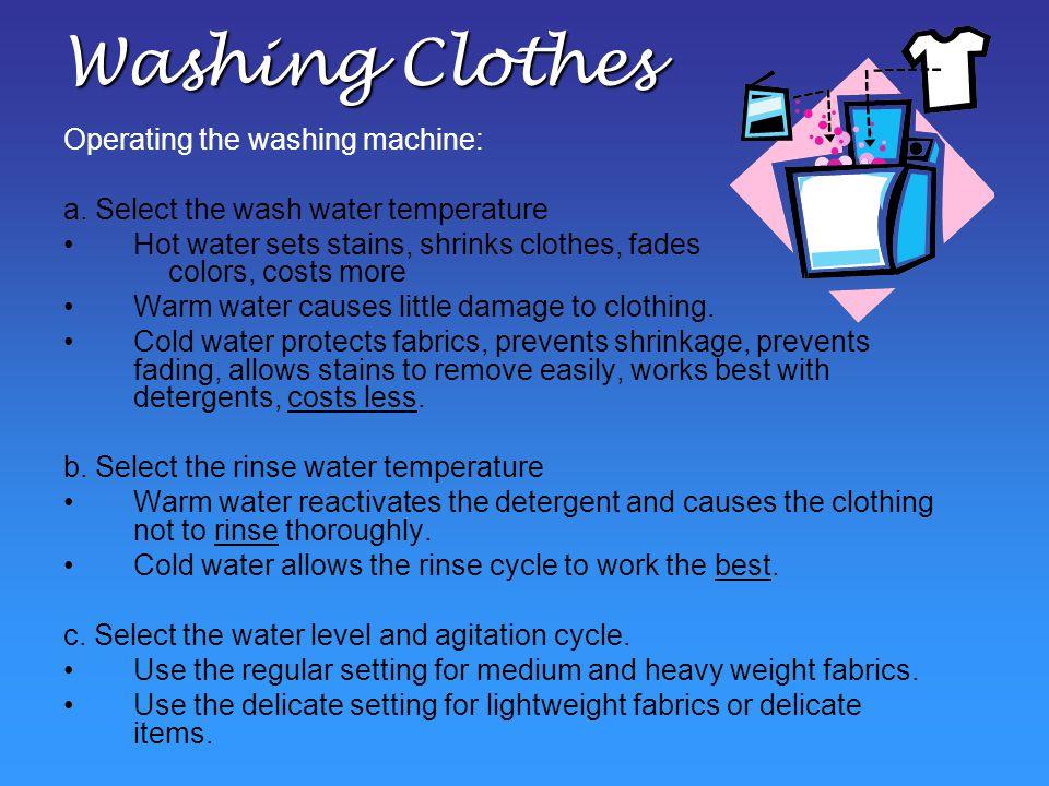 Washing Clothes Operating the washing machine: