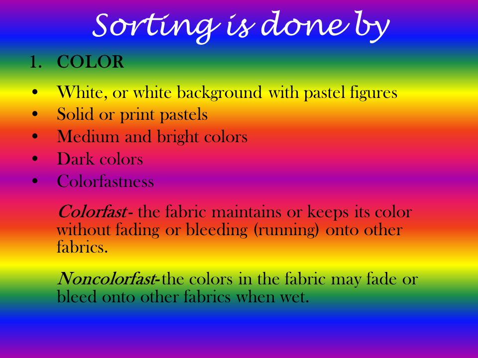Sorting is done by COLOR
