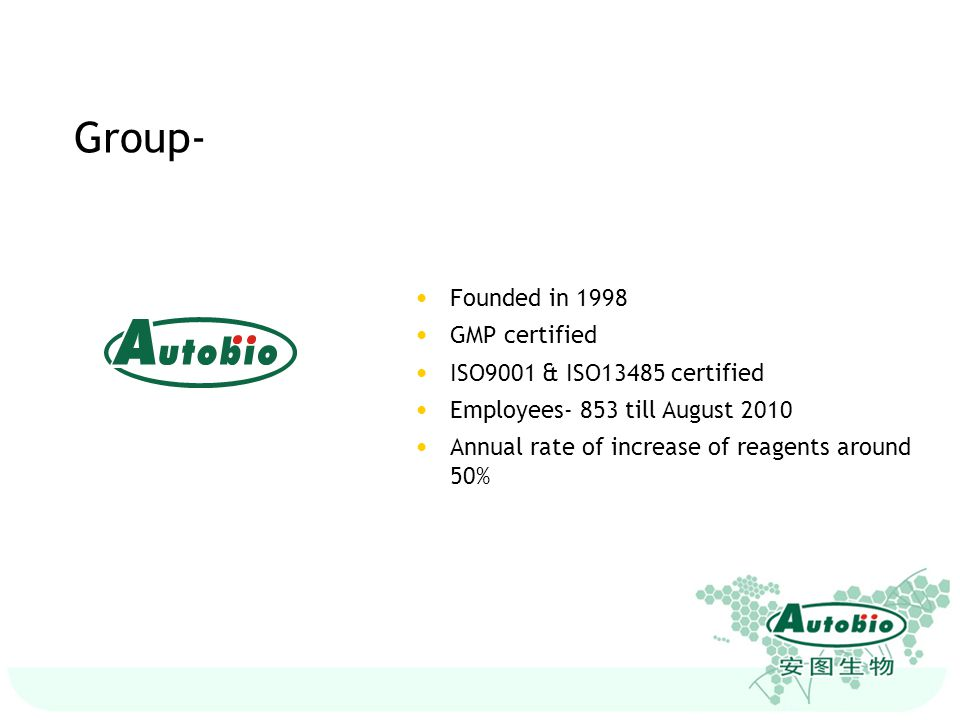 Group- Founded in 1998 GMP certified ISO9001 & ISO13485 certified
