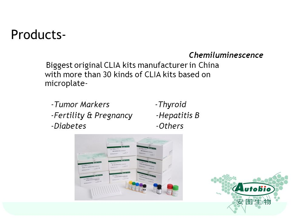 Products- Chemiluminescence (CLIA) Biggest original CLIA kits manufacturer in China with more than 30 kinds of CLIA kits based on microplate-