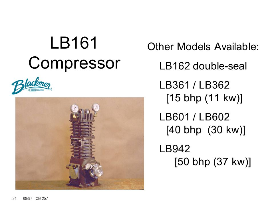 LB161 Compressor Other Models Available: LB162 double-seal