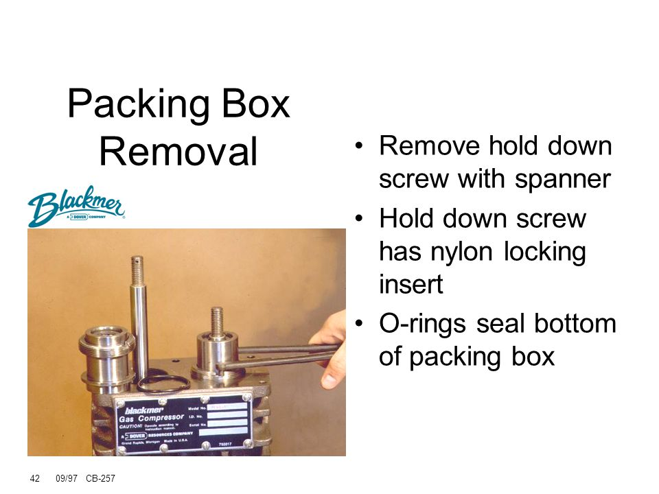 Packing Box Removal Remove hold down screw with spanner