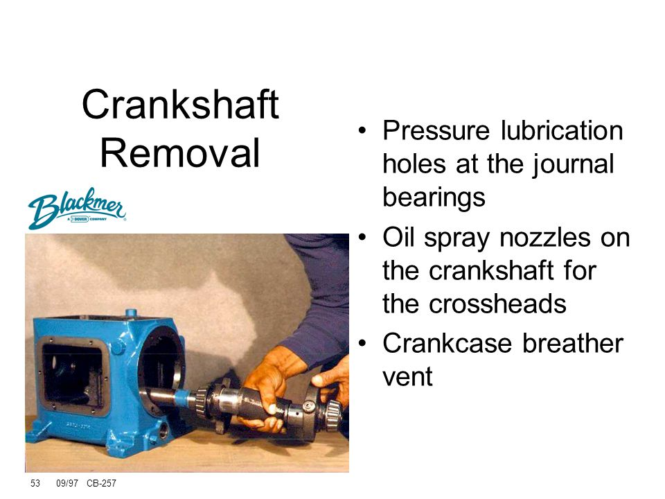 Crankshaft Removal Pressure lubrication holes at the journal bearings