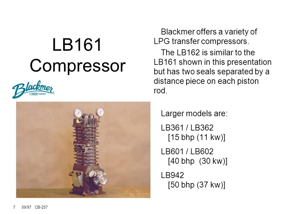 LB161 Compressor Blackmer offers a variety of LPG transfer compressors.
