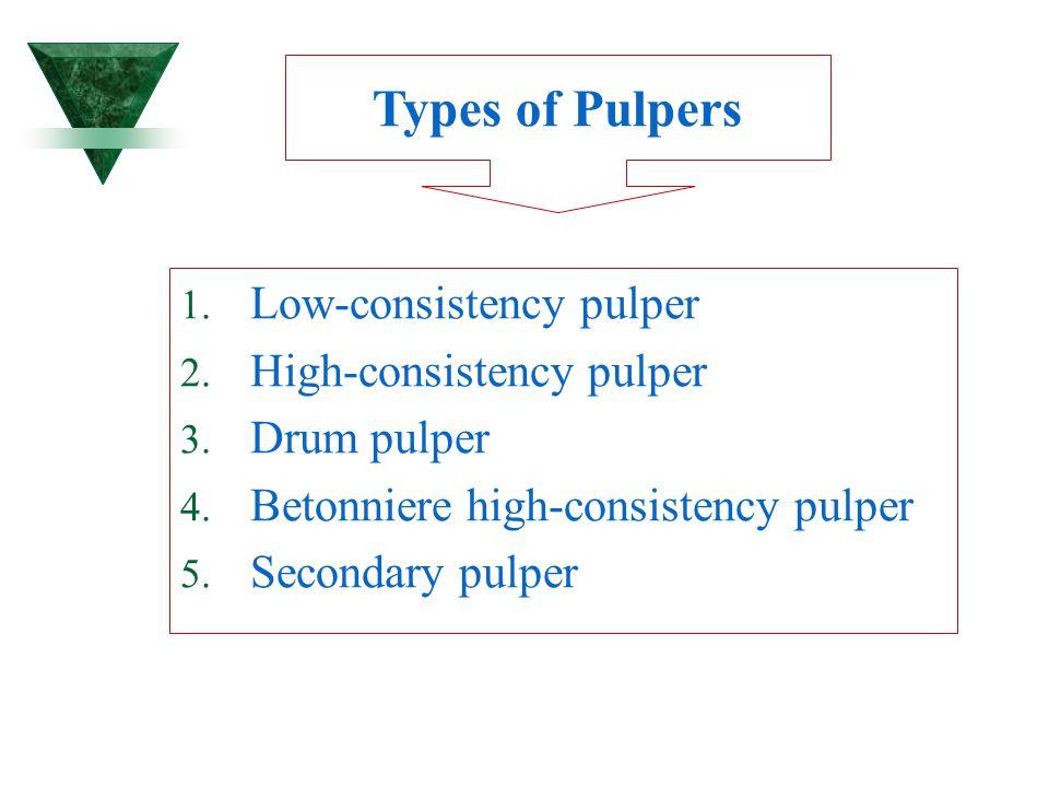Types of Pulpers Low-consistency pulper High-consistency pulper